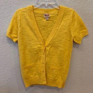 Yellow Short Sleeve Cardigan